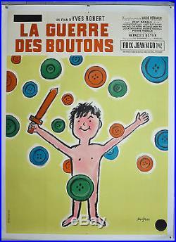 Affiche ancienne entoilée LA GUERRE DES BOUTONS -LITHO- Par Savignac