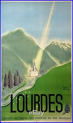 Affiche ancienne entoilée LOURDES Hervé Baille -1948