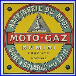 Affiche ancienne entoilée années 20- MOTO GAZ à Balaruc près CETTE -Hérault