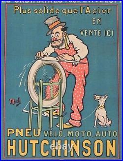 Affiche ancienne jantes HUTCHINSON par MICH / rémouleur auto vélo moto garage