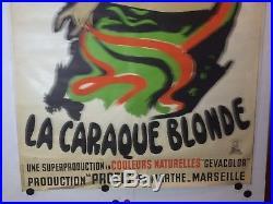 Affiche ancienne la Caraque Blonde Marseille Fond Blanc