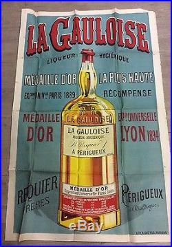 Affiche ancienne la gauloise liqueur 1.26m/0.82m
