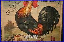 Affiche ancienne le coq opérette théatre des menus plaisirs