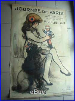 Affiche ancienne litho Journée de Paris 1917 signé F Poulbot circa 1917