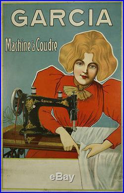 Affiche ancienne machine à coudre Garcia circa 1900 couture