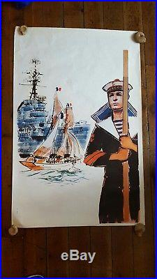 Affiche ancienne, marine, Albert Brenet, Surcouf, marine nationale