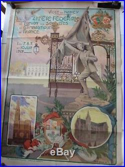 Affiche ancienne originale 1914-1920, Ville de NANCY