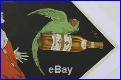 Affiche ancienne originale COGNAC SAUVION 1925 STALL pierrot perroquet tennis