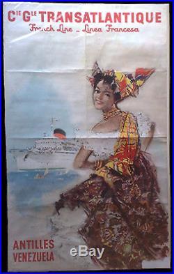 Affiche ancienne originale Cie Gle TRANSATLANTIQUE signée A. BRENET