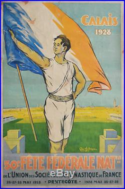 Affiche ancienne originale Fête fédérale nationale 1928 Géo Andrique