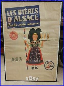 Affiche ancienne originale Les bières d'alsace 1950