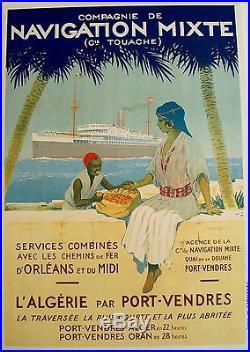 Affiche ancienne originale Navigation mixte Algérie Sandy Hook 1920 104 x 74
