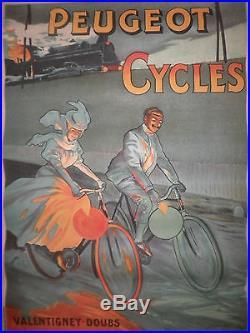 Affiche ancienne originale Peugeot Cycles