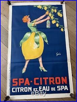 Affiche ancienne originale Spa Citron