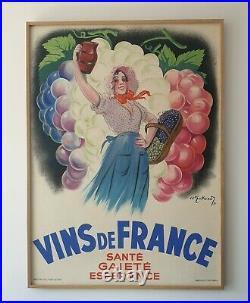 Affiche ancienne originale Vins de France (1937)