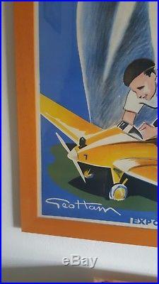 Affiche ancienne originale aviation de loisirs