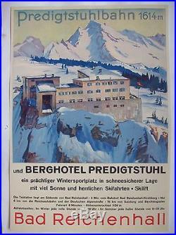 Affiche ancienne originale c. 1935 Predigtstuhl Alpes montagne téléphérique