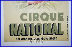 Affiche ancienne originale cirque National Clowns, ANTIQUE CIRCUS POSTER