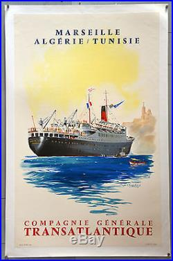 Affiche ancienne originale entoilée Cie Gen TRANSATLANTIQUE Roger Chapelet
