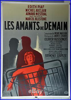 Affiche ancienne originale entoilée LES AMANTS DE DEMAIN Paul COLIN
