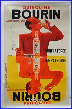 Affiche ancienne originale entoilée de 1936 BOURIN QUINQUINA Par BELLENGER