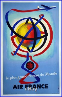 Affiche ancienne originale entoilée de 1956 AIR FRANCE par Jacques NATHAN