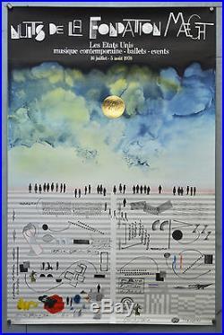 Affiche ancienne originale -nuits de la Fondation MAEGHT -Les états unis 1970