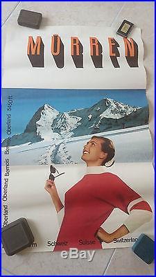 Affiche ancienne originale suisse murren oberland bernois berne autentique