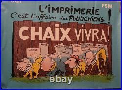 Affiche ancienne politique Imprimerie Chaix, caricatures Chiens
