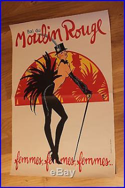 Affiche ancienne poster bal du moulin rouge Gruau lithographie originale