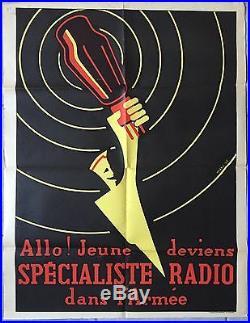 Affiche ancienne propagande DEVIENS SPECIALISTE RADIO DANS L'ARMEE Maky 1950