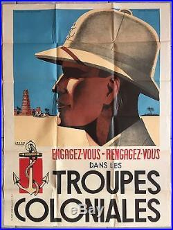 Affiche ancienne propagande ENGAGEZ-VOUS DANS LES TROUPES COLONIALES Sogno 1940