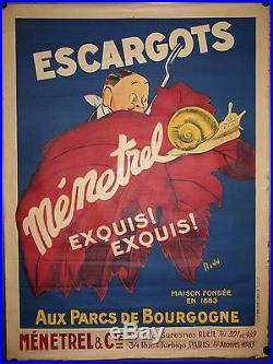 Affiche ancienne pub originale Escargots Ménetrel par Rudd, années 20/30