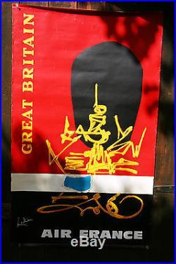 Affiche ancienne publicité AIR FRANCE Georges Mathieu Great Britain