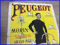 Affiche ancienne publicitaire peugeot cycle morin gagnant 1.50m/1.12m
