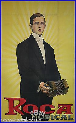Affiche ancienne spectacle Roca musical accordéon artiste