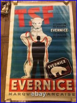 Affiche ancienne vintage bon état radio OURS TSF EVERNICE 80 X 120 CM