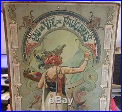Affiche calendrier eau de vie de Faugéres signé Hingre 1902