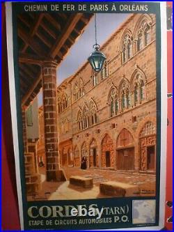 Affiche chemin de fer Cordes Tarn Commarmond 1933 entoilée originale