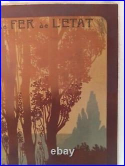 Affiche chemin de fer Normandie Bretagne Lacaze entoilée originale vers 1920