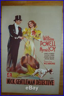 Affiche cinéma ancienne Litho 1936, William Powell, Nick Gentleman détective