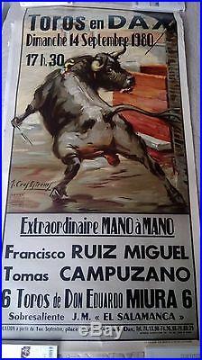 Affiche corrida Dax extraordinaire mano a mano 1980