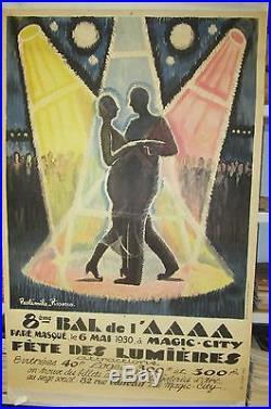 Affiche d'epoque 8 éme bal de l'AAAA 6 mai 1930 Paulémile PISSARRO