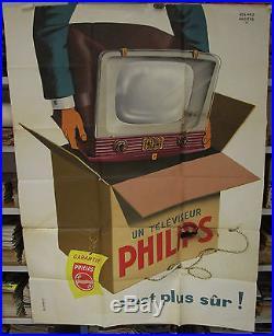 Affiche d'époque un téléviseur PHILIPS signé roland ANSIEAU 1956 télévision