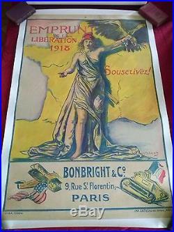 Affiche emprunt de la libération 1918 / signé B. CHAVANNAZ (entoilée)