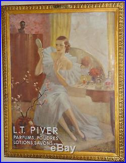 Affiche encadrée parfum L. T PIVER 1900's très bel état 100% d'origine