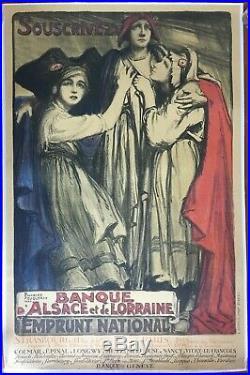 Affiche entoilée guerre BANQUE D'ALSACE ET DE LORRAINE Fouqueray 77x119cm 1920