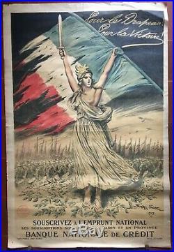 Affiche guerre WWI EMPRUNT NATIONAL Pour le drapeau Pour la victoire SCOTT 1917