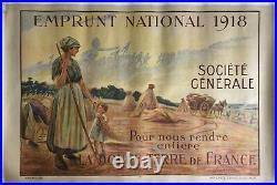 Affiche guerre WWI EMPRUNT NATIONAL Société Générale Douce Terre CHAVANNAZ 1918