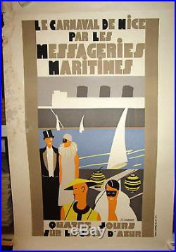 Affiche le carnaval de Nice par les messageries maritimes signé J. J. GAUDINOT